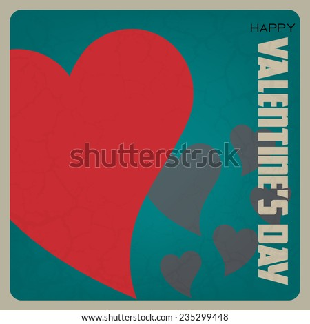 Happy Valentine's Day poster. Retro love background with red heart (EPS10 Vector) - stock vector