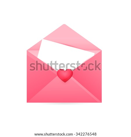 Happy Valentine's Day, Realistic Mail Envelope vector - stock vector