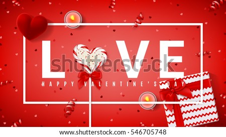 Happy Valentine's Day red banner. Top view on composition with lollipop, gift box, case for ring, candles and confetti. Candy in the form of heart isolated on red backdrop. Vector illustration.