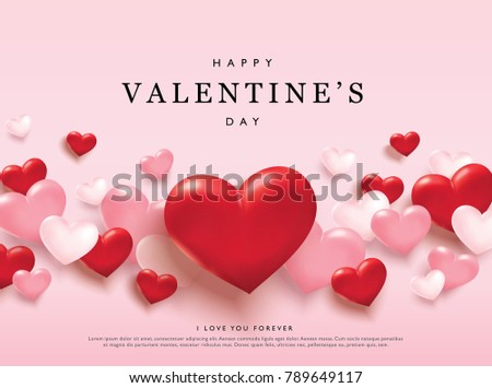 Happy Valentine's Day romance greeting card with red and pink hearts