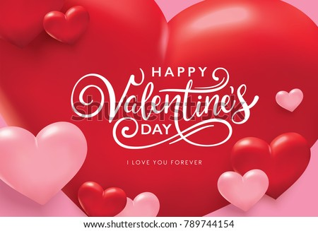 Happy Valentine's Day romance greeting card with red and pink hearts background