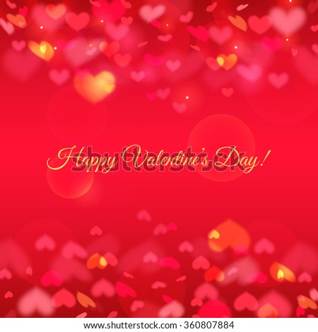 Happy Valentine's Day! Romantic greeting card with hearts background. Vector illustration. - stock vector