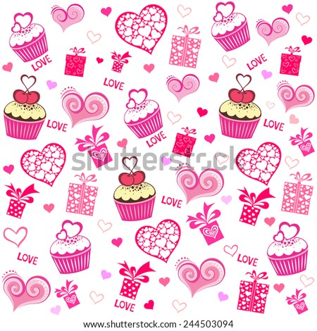Happy Valentine's day!  Seamless valentine pattern with cupcake, gift box and hearts. Vector Illustration - stock vector