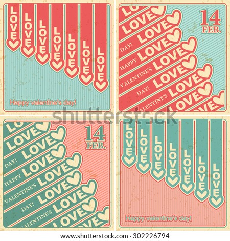 Happy Valentine's Day Set cards with heart vector design element template, Vector illustration Eps 10 - stock vector