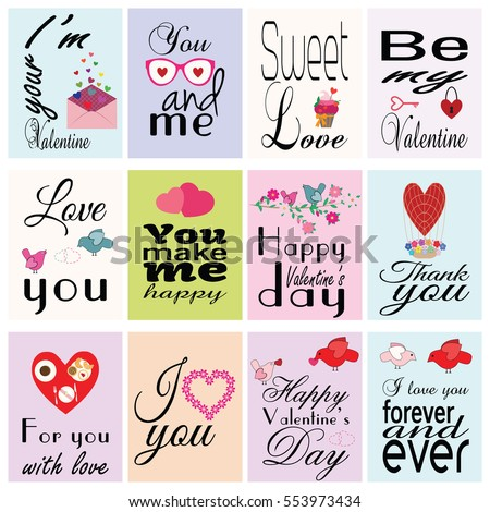 Happy Valentine`s day. Set of cards. Love romantic elements and inscriptions. Vector design templates for greeting / gift cards, posters, banners, patterns etc.