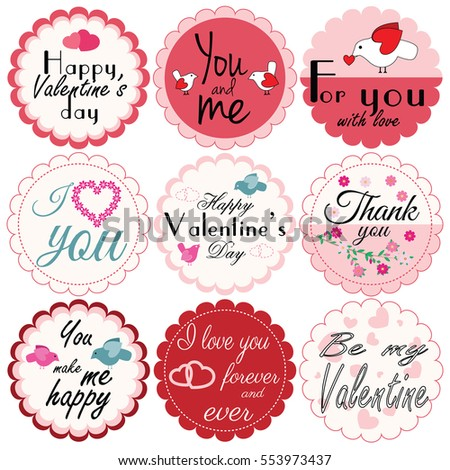 Happy Valentine`s day. Set of illustrations. Vector design templates for greeting / gift cards, labels, posters, banners, patterns etc. Love romantic elements and inscriptions.