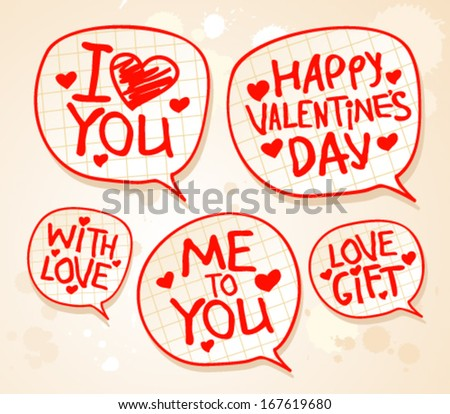 Happy Valentine`s day speech bubbles. Can be used as background or some icons - stock vector