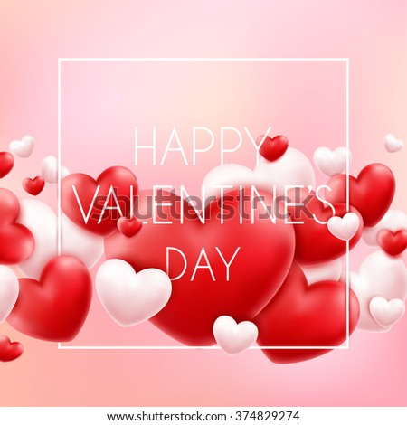 Happy Valentine's Day Typographical background With 3d flying hearts - stock vector