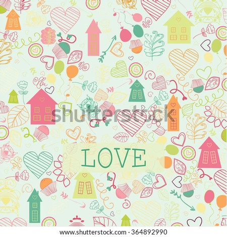 Happy Valentine's Day - Typographical Background with ornaments, hearts - stock vector