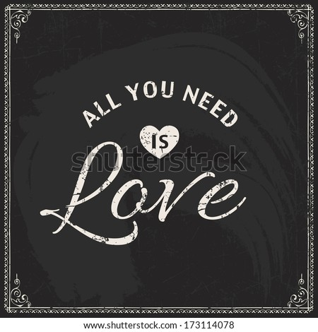 Happy Valentine's day typographical vector holiday card. Blackboard grunge background.  - stock vector
