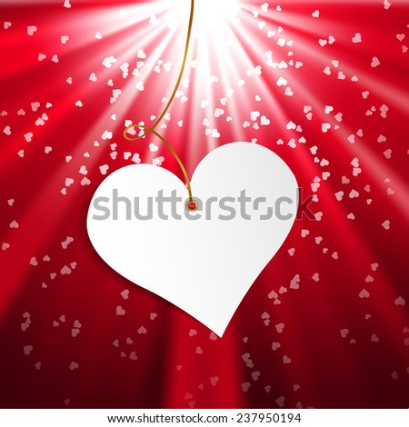 Happy Valentine's Day.  Valentine heart on shining background. Background for web pages, invitations, save the date cards. Vector illustration
