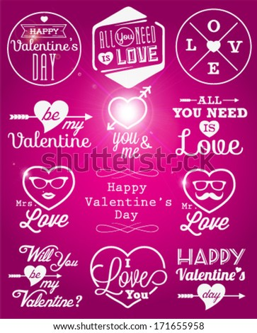 Happy Valentine's Day Vector Badges and Labels in Vintage Style