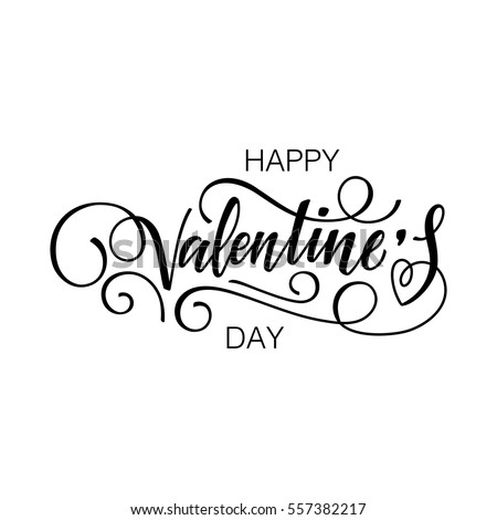 Happy Valentine's day vector card. Happy Valentine's Day lettering.
