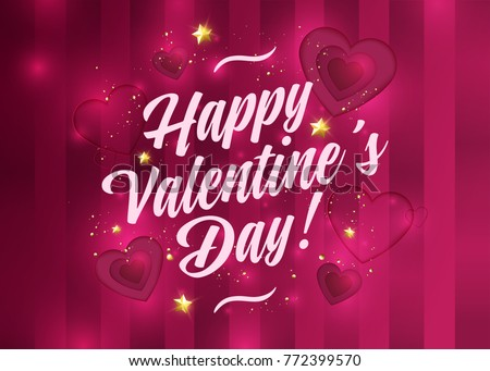 Happy Valentines Day Vector Card Romantic Stock Vector 772399570 ...