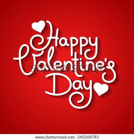 Happy Valentine's Day vector card with hand written text