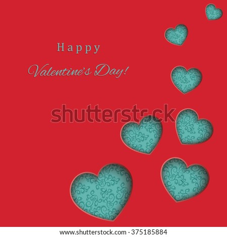Happy Valentine's Day vector greeting card - stock vector