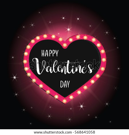 happy valentines day vector pink neon lights heart calligraphy inscription
