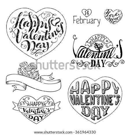 Happy Valentine's Day! Vector set of hand-written love phrases, hearts, ribbons and flourishes. Sketch grunge pencil lettering isolated on white background. - stock vector