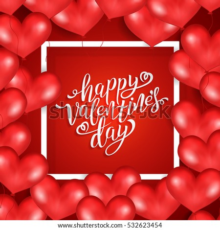 Happy Valentines Day Card Set Calligraphic Vector 529404922 – Valentines Card Image