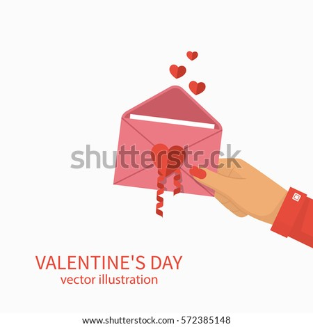 Happy Valentine's Day. Woman holds an open envelope with heart in the hand. Vector illustration flat design. Isolated background. Letter from lover.
