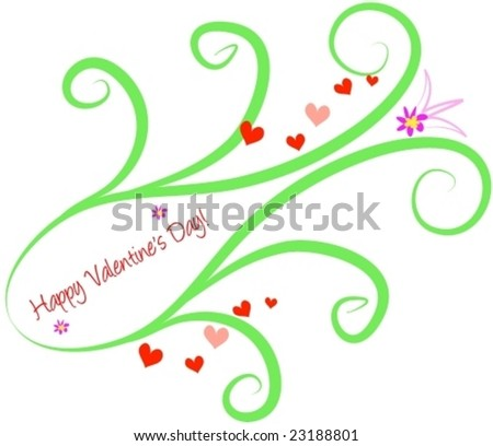 Happy Valentineâ??s Design with Swirls and Hearts Vector