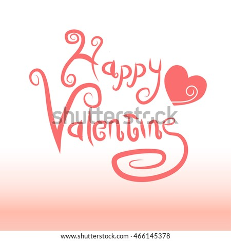 Happy valentine text logo with pink heart symbol