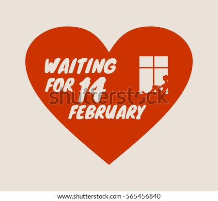 Happy valentines day and wedding design elements. Vector illustration. Window and waiting woman placed on the heart silhouette . Background relative to valentines day. Celebration card pattern