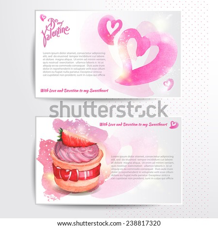Happy valentines day and weeding cards. Watercolor background. Vector - stock vector