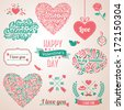Happy valentines day and weeding design elements. Vector illustration. Typographical Background With Ornaments, Hearts, Ribbon and Arrow. Doodles and curls. - stock