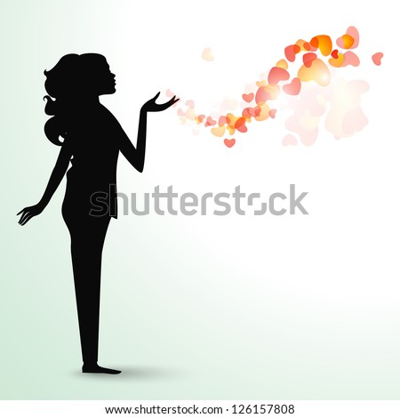Happy Valentines Day background, greeting card or gift card with silhouette of a girl giving flying kiss. - stock vector