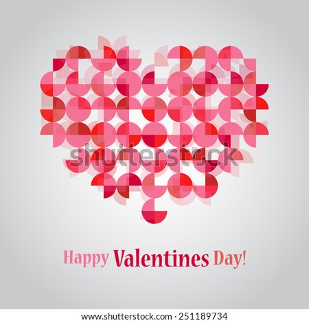 Happy Valentines Day beautiful circles cut heart design. - stock vector