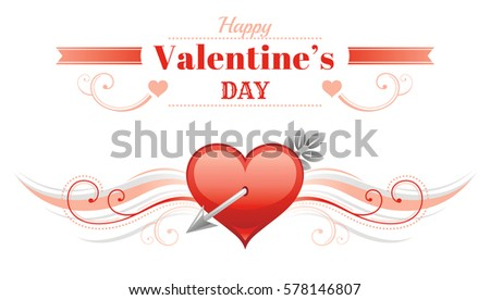 happy valentines day border red cupid arrow heart romance love text lettering