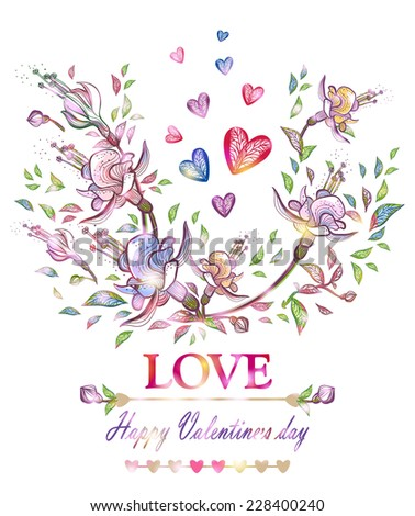 Happy Valentines Day. Bright card.Romantic floral background. Vector illustration, EPS 10. - stock vector
