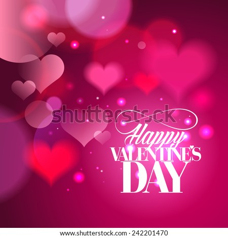 Happy Valentines day calligraphy design with hearts backdrop. - stock vector