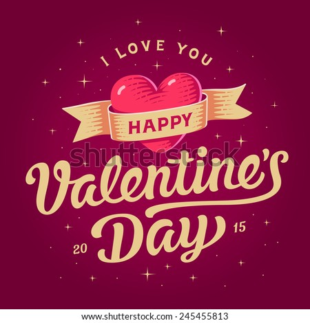 happy valentines day card beautiful lettering with symbol of heart - Happy Valentines Day Photos
