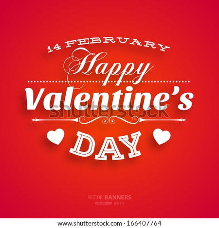 Happy Valentines Day Card Design. 14 February. I Love You. Vector - stock vector