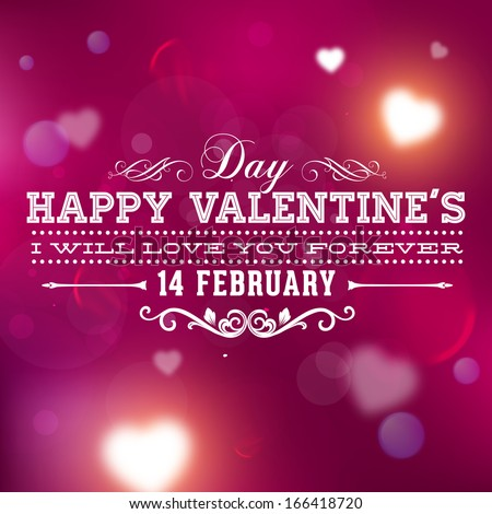 Happy Valentines Day Card Design. 14 February. I Love You. Vector Blurred Soft Background. - stock vector