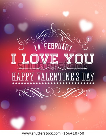 happy valentines day card design 14 february i love you vector blurred soft - Happy Valentine Day Pics