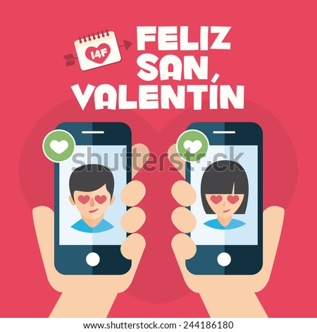 Happy Valentines day card. Hands with couple mobiles - stock vector