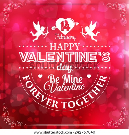 happy valentines day card. hearts background. vector illustration - stock vector