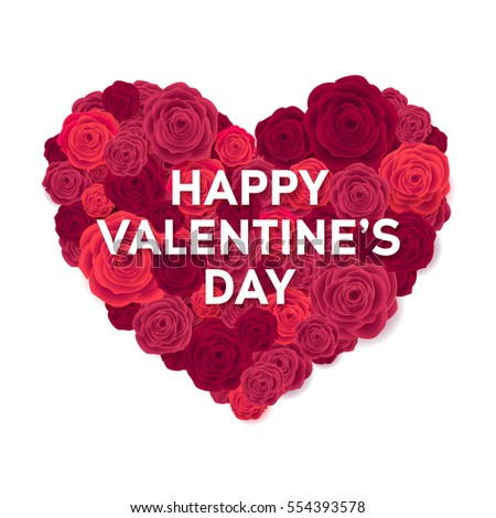 happy valentines day card rose heart isolated on white background wedding poster