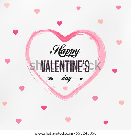 Happy Valentines Day card, typography, background with hearts