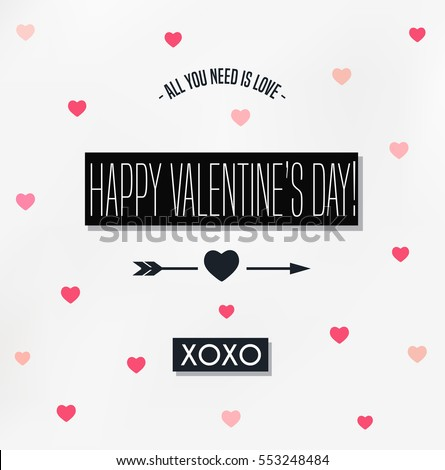 Happy Valentines Day card, Typograpy, background with hearts
