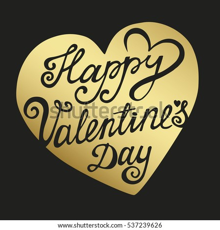 Happy Valentines Day Card Vector Gold Background Vector Love Stock