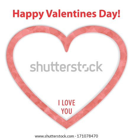 """Happy Valentines Day Card with Big Red Heart and """"I Love You"""" Text in it. - stock vector"""