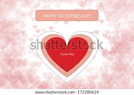 """Happy Valentines Day Card with Big Red Heart and """"I Love You"""" text inside it. Background full of small hearts. - stock vector"""