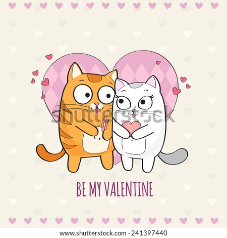 Happy Valentines Day card with cute Cats - stock vector