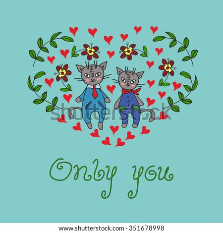 Happy Valentines Day card with cute Cats,hand drawn vector.EPS8.Valentine card. Valentines day.spring vector. spring card, spring vector background,hand drawn card vector,valentine card vector - stock vector