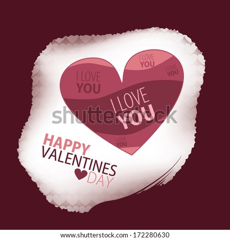 Happy Valentines Day Card with Heart in various pink tones. Framed by a torn apart looking boarder. - stock vector