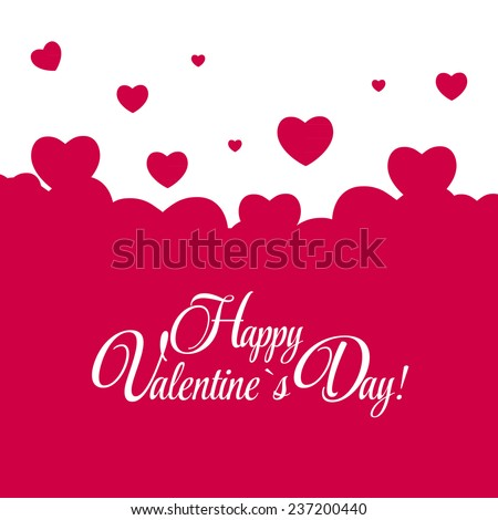 Happy Valentines Day Card with Heart. Vector Illustration. EPS10 - stock vector